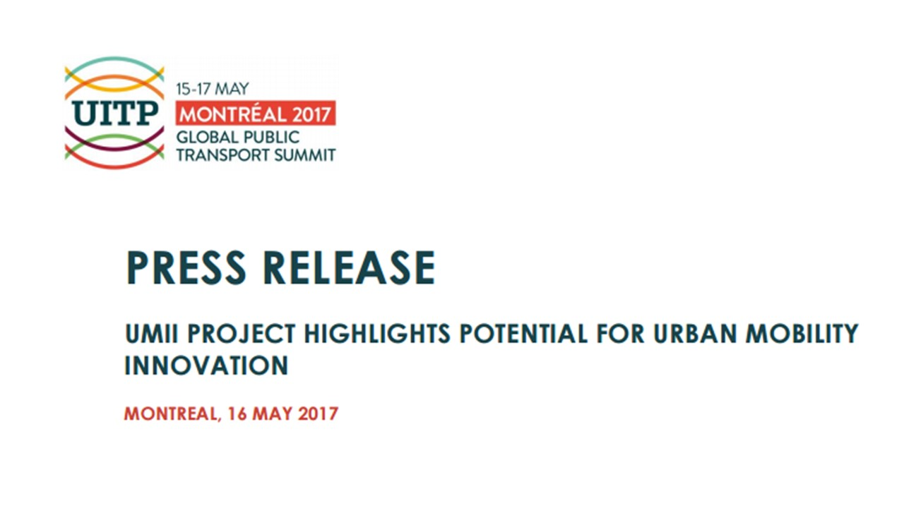 UITP Press Release dedicated to UMii